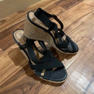 NWOT Black Wedge Espadrilles
